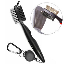 Dual Bristles Golf Club Brush Cleaner Shoes Ball Cleaning Clip Groove w/ Spike