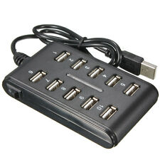 10 Port USB 2.0 High Speed Extension Cable Hub Power Adapter For Laptop PC Black
