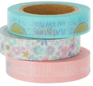 3 Rolls Baby Shower Floral Washi Tape Decorative Planner Supply Papercraft Sun