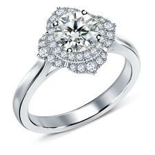 Moissanite Diamond Engagement Ring 925 Silver 2.24 Ct Vvs1-Near White Round Real