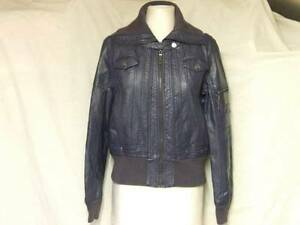 """BLUE FAUX LEATHER ZIP UP JACKET COAT TOP APPROX LADIES 10-12 CHEST 38"""" TEEN GIRL"""