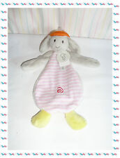 • - Doudou Semi Plat Chien Lapin Gris Rose Rayé Orange Jaune Happy Horse Neuf