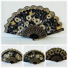 Vintage Folding Spanish Flower Floral Fabric Dancing Wedding Party Hand Fan