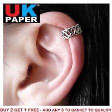 SILVER CRISS CROSS EAR CUFF UPPER HELIX CARTILAGE CLIP-ON EARRING GOTHIC ROCK UK