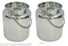 2 x 2.5 gallon Stainless Steel Milk Storage & Transport Can 10 quart or 10 litre