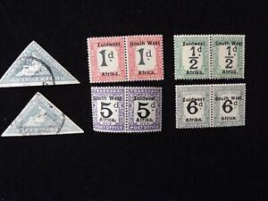 SOUTH WEST AFRICA 1923. 5d 1d  6d 1/2 d   POSTAGE DUE MMint. PAIRs. & TRIAGLES U