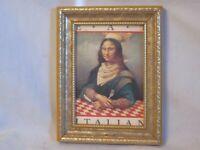 vintage framed Mona Lisa as a chef Eat Italian picture frame ornate metal