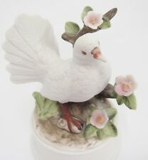 Porcelain Dove Bird Figural Music Box Plays Lauras Theme Pink Flowers Branches