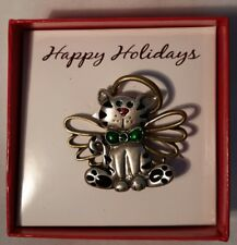 Happy Holidays Angel Cat Pin w/Halo and Wings, From Sears, New