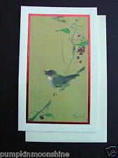 #H533- Vintage Tyrus Wong Xmas Greeting Card Beautiful Songbird on Branch