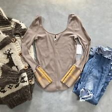 New Free People Cozy Taupe Long Sleeve Thermal Kombucha Cuff Knit Top X-Small XS