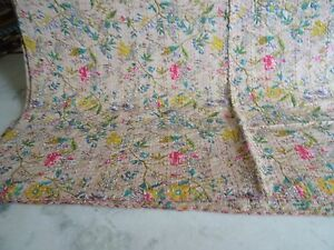 Indian paradise kantha handmade cotton quilt twin size hippie bohemian bedspread