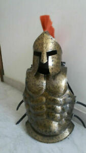 Armor MUSCLES JACKET With Spartan Helmet Medieval Antique Finish With Red Plume