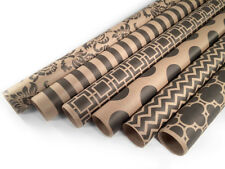 """Kraft and Black Wrapping Paper - 6 Rolls - 6 Patterns - 30"""" x 120"""" per Roll"""