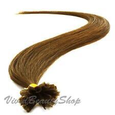 25 Pre Glue Bond U Nail Tip Straight Remy Human Hair Extensions Light Brown #8