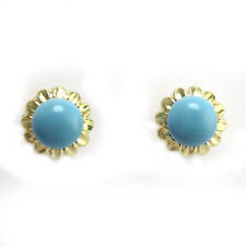 14k Solid Yellow Gold Sunflower Turquoise Earrings 7.0 mm #E503
