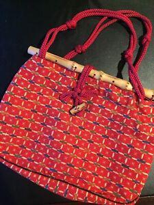 New Rare Traditional Japanese Floral Print Bamboo Mini Hand Bag Tote Bag