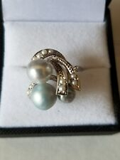 14k 14kt White Gold Cocktail Ring with Pearls