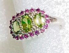 NATURAL 2 CARAT PERIDOT, PINK SAPPHIRE 925 STERLING RING SIZE 6.75