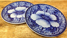 Mexican Pottery Ceramica Artistica Gomez Foot Blue Pansy 2 Salad Dessert Plates