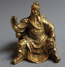 Folk China Brass Copper Dragon Warrior GuanGong Guan Yu God Looking Book Statue