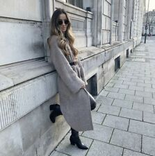 Zara Brown/taupe Long Knit Coat size M