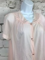 Vintage Vanity Fair Pink Nylon Night Shirt Button Front Short Sleeve Medium