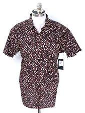 $60 NWT RVCA Black Yellow Geometric Cotton Slim Fit Short Sleeve Shirt XL