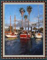 "Hand painted Original Oil Painting art Landscape boat on canvas 24""x36"""