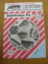 10/12/1984 Stourbridge v Aston Villa [Birmingham Senior Cup] . Item appears to b
