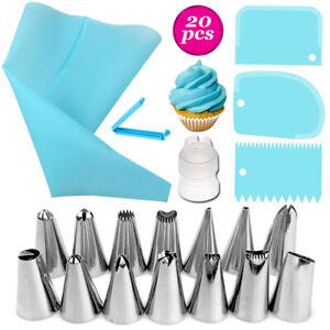 20 Pcs Cake Baking Decorating Kit Set Piping Tips Pastry Icing Bag Nozzles T FD