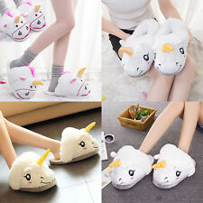 Slip On Adult Size Fantasy White Unicorn Plush Cotton Slippers Indoor Shoes