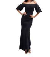 TFNC Off Shoulder Maxi Dress With Blouson Sleeve Black Size UK 8 DH099 CC 14