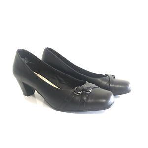 Portland Black Leather Shoes Size 6.5 Hilary Pump Heel Court EUR 37 Work Office