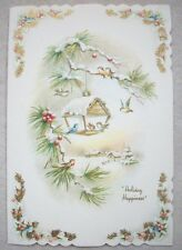 Birds feeder in pine Bluebird Chickadee VINTAGE CHRISTMAS GREETING CARD *P
