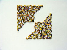 10 Filigree Metal card corners gold colour, ideal for cards or scrapbooking,