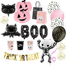 Halloween Party Deko Set Kinder Dekoration Tischdeko rosa schwarz Skelett Kürbis
