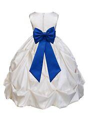 IVORY TAFFETA SATIN DRESS FLOWER GIRL BRIDESMAID FORMAL PICK-UP PAGEANT HOLIDAYS
