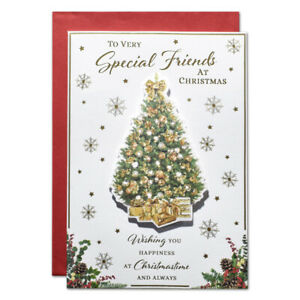 SPECIAL FRIENDS CHRISTMAS CARD ~ GOLD TREE DESIGN ~ QUALITY CARD & LOVELY VERSE