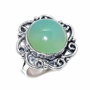 Aqua Chalcedony Gemstone Handmade 925 Sterling Silver Ring Size 8.5