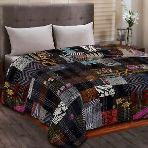 Indian Silk Handmade Patchwork Print Kantha Quilt Bedspread Bed Cover Gudri