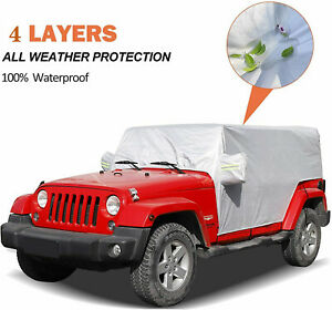 TJ,/& JK Waterproof Dustproof Vehicle Car Cover with Built-in Storage Pockets for Windproof Strap iiSPORT 4-Door SUV Car Cover Custom Fit for 2004-2018 Wrangler Unlimited CJ,YJ