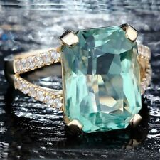 Engagement Women For Gold Color Wedding Crystal Green Jewelry Ring Rings