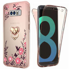 For Samsung S9 S8 360° Full Body Bling Crystal Soft TPU Case Cover +Ring Stand