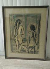 Tableau aquarelle 1955 signé André Jasmin (1922*) Canada.