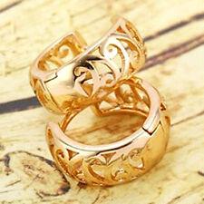 Fashion Dainty 9K Real Yellow Gold Filled Openwork Womens Huggie Hoop earing