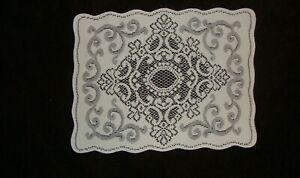 "Lace Table Doily/Placemat White Medallion design  19"" x 14"" set of 2"