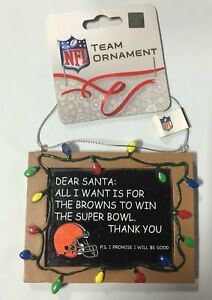 Cleveland Browns Christmas Tree Ornament Chalkboard - All I want is a Superbowl