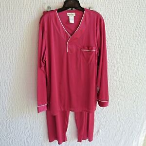 Norm Thompson Mens Pajamas L 100 Nylon  Top Pants New Old Stock Vintage Maroon