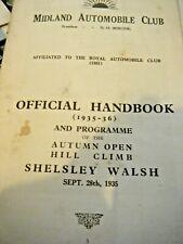 SHELSLEY WALSH HILL CLIMB 1935 1936 PROGRAMME HANDBOOK MIDLAND AUTOMOBILE CLUB